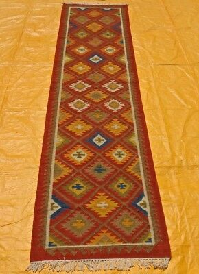 Traditional Hand Made Persian Oriental Wool Red Long Kilim Runner Rug 330x80cm