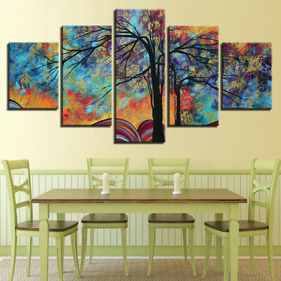 Abstract Colorful Tree Branches 5 Panel Canvas Print Wall Art