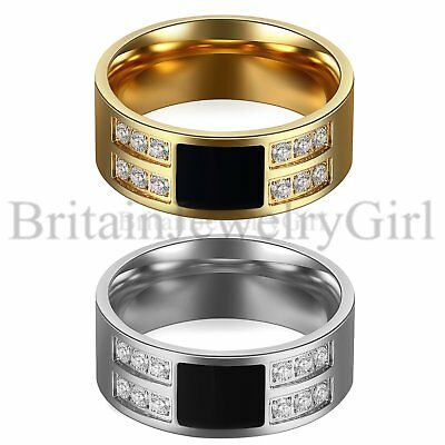 8mm Punk Stainless Steel Men Comfort Fit Enamel Ring CZ Wedding Band Size 7-13