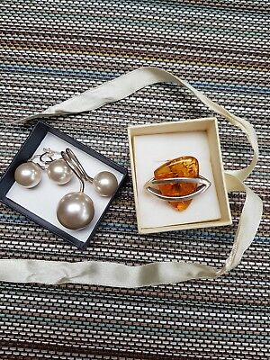 Silver ring and earrings 925