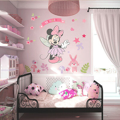 Pink Minnie Mouse Wall Stickers Cartoon Mural Vinyl Decals Girls Bedroom Decor