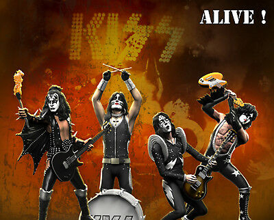 KISS Gene Simmons Paul Stanley Ace Frehley Peter Criss Alive! Set of 4 Statue