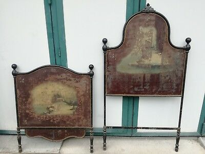 Antique bed song 1800 iron hand painted nineteenth century