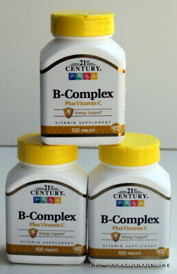 21 Century B Complex +  Vitamin C 3 Bottles 300 Tablets Stress Tired Body Energy