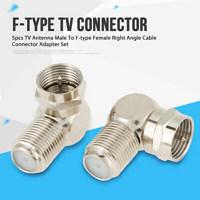 5pcs TV Antenna Male To F-type Female Right Angle Cable Connector Adapter Set en