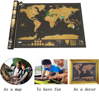 Scratch Off World Map Deluxe Edition Travel Log Journal Poster Wall Decore UK
