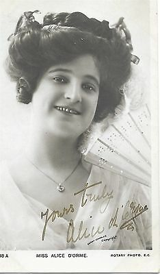 Alice D'orme ~ Hand Signed Autographed Postcard ~ Theatre Performer