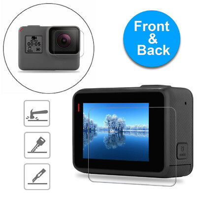 For GoPro Hero 6 5 Black Clear Tempered Glass Screen Protector+Lens-Protector