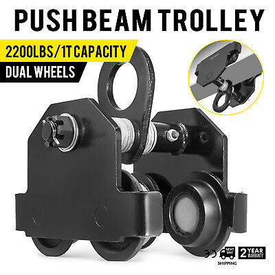 1 Ton Push Beam Track Roller Trolley Washers Included Winch Capacity 2200lbs