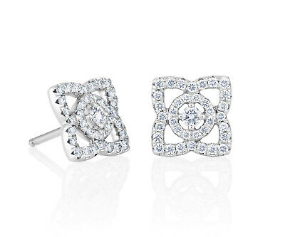 Certified 3.20 Ct Round Cut VVS1 Halo Diamond Stud Earrings Real 14K White Gold