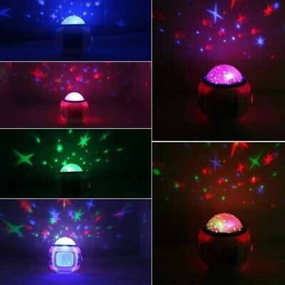 New Bedroom LED Projector Music and Starry Sky Digital Alarm Clock Snooze Kids