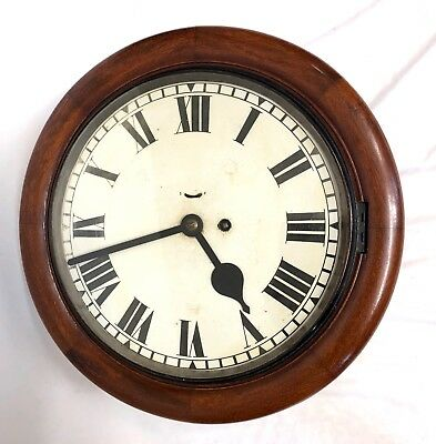 RARE Antique Mahogany CHAIN Fusee Wall School Railway Clock with Balance Shaft