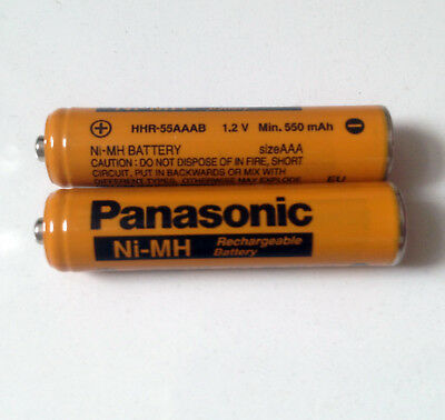 2x USED Panasonic AAA Rechargeable 1.2V 550mAh Ni-Mh Battery HHR-55AAAB KX-TG