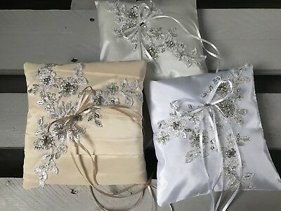 FAB Champagne Ivory White Wedding Ring Cushion Bearer Pillow Antique Silver LACE