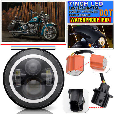 For HARLEY DAVIDSON Motorcycle Angel Eye with Halo LED CONVERSION HEADLIGHT