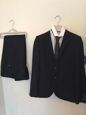 NEXT Navy Signature Boys 4 Piece Suit Age 11 Years Jacket Trousers Shirt And Tie