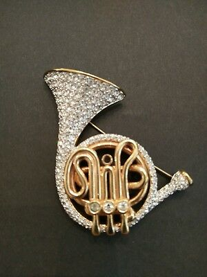Swarovski Signed Pin Brooch French Horn Gold Plated with Clear Pave Crystals