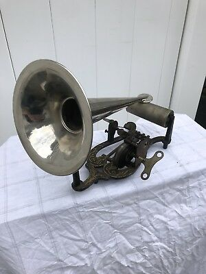 RARE Puck-Type Lyre Shaped Cylinder Phonograph *MOTOR RUNS* Antique 1900's