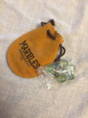 Vintage Travel Souvenir leather pouch bag glass marbles MAMMOTH CAVE,KENTUCKY