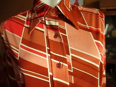 LARGE True Vtg 70s STRETCH KNIT RUST/PINK PRINTED POLYESTER Disco Top Pykettes