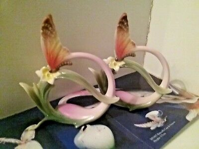 "Franz Porcelain Bufferfly Napkin Ring Set Of Two ""Papillon Butterfly"""