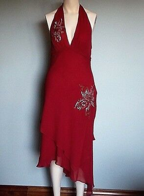 a97cad143eb NEW BCBG MAX AZRIA Sz 12 Beaded Floral Halter Chiffon Red Silk Dress Gown