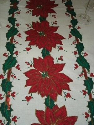 Vintage Large Tablecloth Christmas Poinsettias and Holly