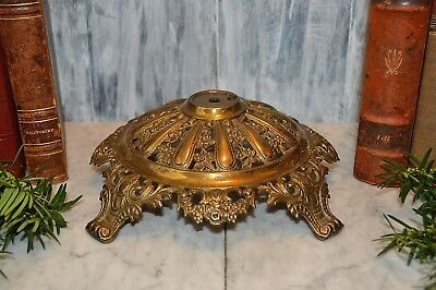 Antique Large Ornate Brass Lamp or Candle Base Architectural Salvage Repurpose