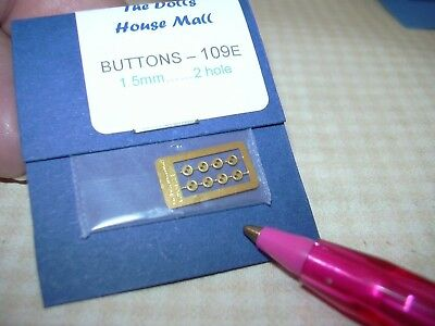 Miniature Laser-Cut Tiniest Brass Buttons (8) 1.5mm with 2 Holes: DOLLHOUSE 1:12
