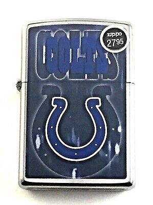 BRAND-NEW Zippo Street Chrome NFL Indianapolis Colts Logo Lighter In Box # 28593