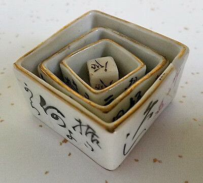Vintage Japanese  Hand Painted Porcelain Nesting Sake Cups Game 3 Cups 1 Dice
