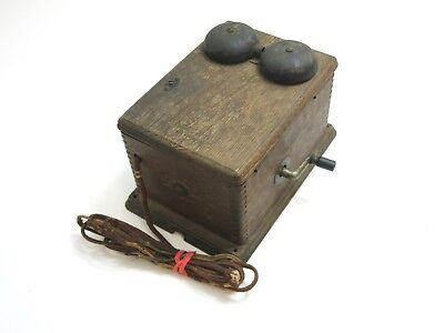 Antique Western Electric Crank Oak Ringer Box With 2 Bar Magneto 315E