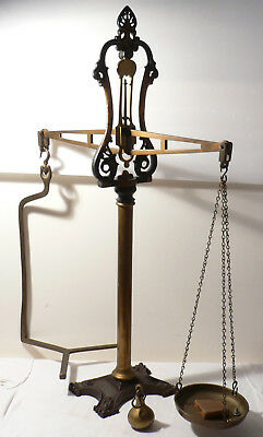 """Antique W.T.Avery Agate  Balance Scale Birmingham Large Brass Cast Iron 32"""" Tall"""