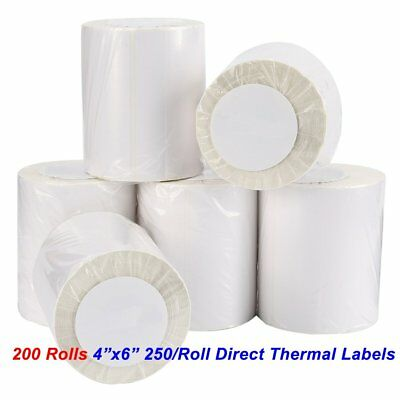 200 Roll Direct Thermal Shipping Labels 4x6 250/Roll For Zebra 2844 ZP450 Eltron