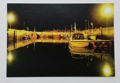 Berneray Harbour at Night North Uist Scotland Postcard