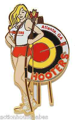 Kennesaw Hooters Hot Archery Girl Lapel Pin Hit Bulls Eye Every Time Bow & Arrow