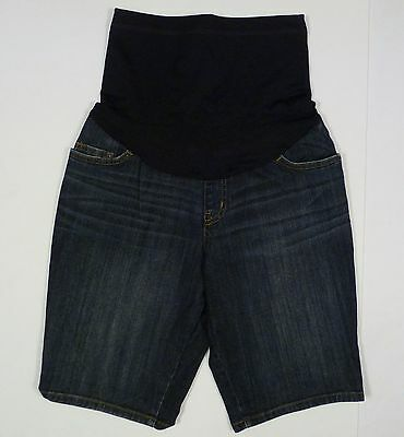 Womens NEW Liz Lange Over The Belly Stretch Denim Jean Maternity Shorts S Small