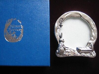 Silver Plated Christening Frame with Rabbits