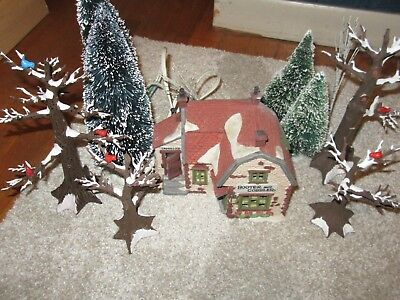 DEPT 56 DICKENS VILLAGE  - BOOTER AND COBBLER w/ 10 trees