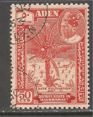 Aden Qu'aiti State In Hadhramaut #46 VF USED - 1963 50c Date Tree Cultivation