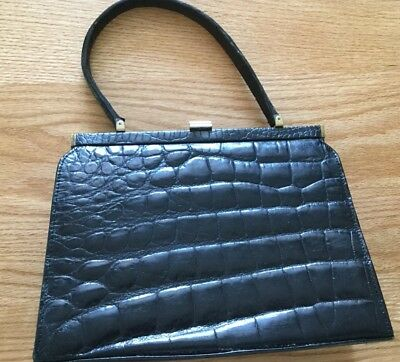 Vtg Black Alligator Embossed Leather Handbag Purse Unbranded
