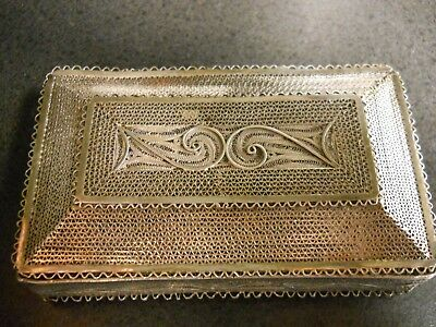 East Indian Style hand crafted Filigree cigarette case/Trinket box.