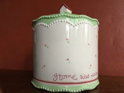 """SUSAN BRANCH Pottery Cookie Jar """"Home was never sweeter than now"""""""