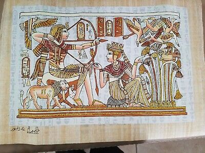 "Egyptian Hand-painted Papyrus Artwork: King Tut & Wife Hunting Birds 16"" x 12"""