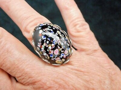 Authentic Vintage-1950's Silver Tone Black Murano Art Glass Cuff Ring Adjustable