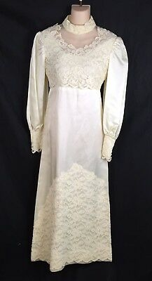 True Vtg Ivory Lace Victorian Wedding Dress Cleaning/Repair/Costume Fits S