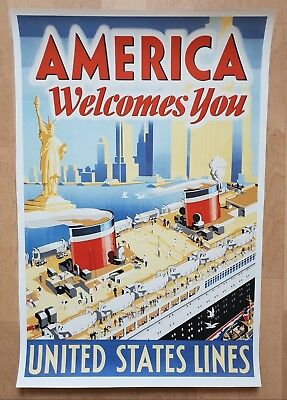 Poster America Welcomes You - United States Lines