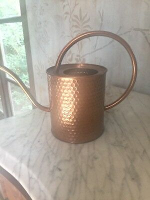 """Hammered Copper Watering Can 8"""" Tall Used Excellent Condition"""