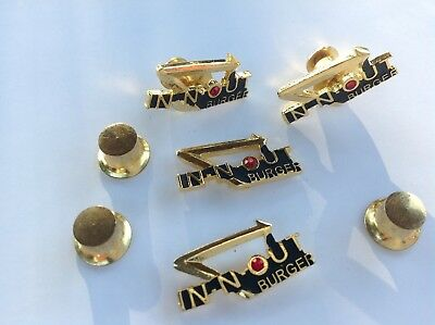 Vintage IN N OUT BURGER Employee Pin with Gem Stone Pinback Tie Tack Hat Pin NEW