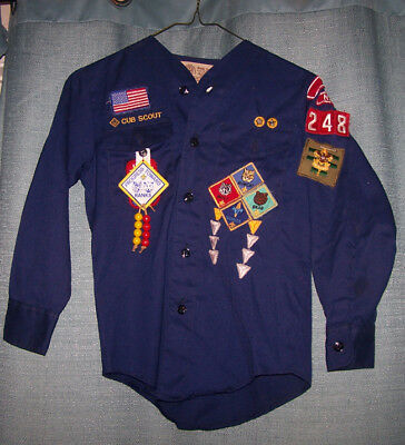 Bsa Vintage 1975 Authentic Cub Scout Long Sleeve Shirt With Badges Tilton Nh 248